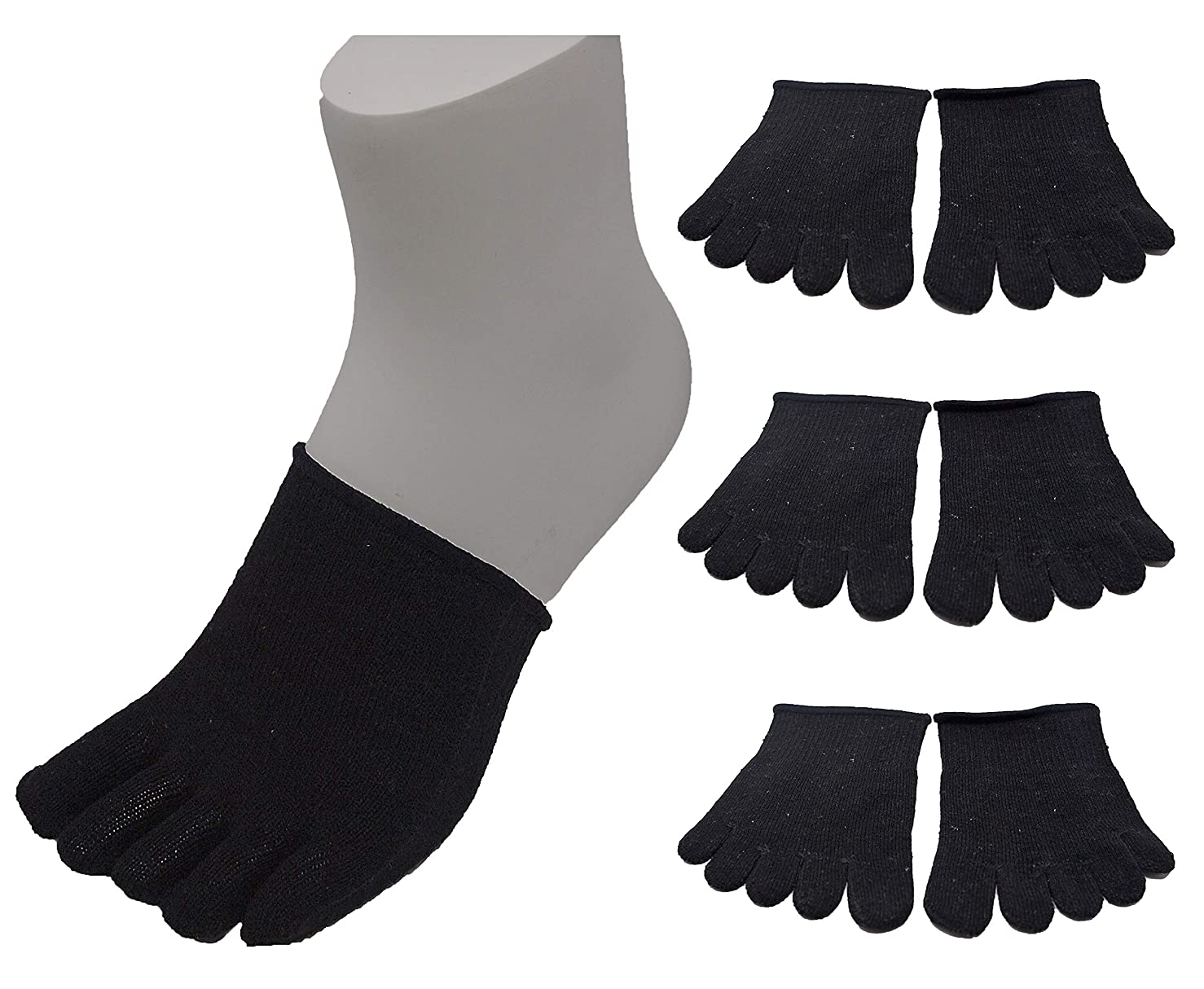 クッション章ケニアUSK STORE シルク 5本指ハーフソックス 3足セット 重ね履き 冷え取り 天然素材 男女兼用 22-27cm (黒)