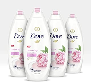Dove Body Wash 100% Gentle Cleansers, Sulfate Free Renewing Peony Rose Oil Paraben Free and Sulfate Free Moisturizing Bodywash, 22 Fl Oz, Pack of 4
