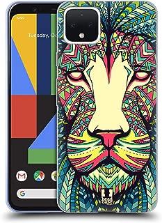 Head Case Designs Lion Aztec Animal Faces Soft Gel Case Compatible for Google Pixel 4