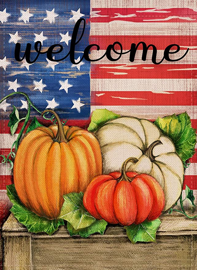 Dyrenson Home Decorative Outdoor Welcome Fall Quote Garden Flag Double Sided Patriotic House Yard Flag Rustic Autumn Harvest Pumpkin Primitive Yard Decorations Vintage Seasonal Outdoor Flag 12 X 18 Garden Outdoor