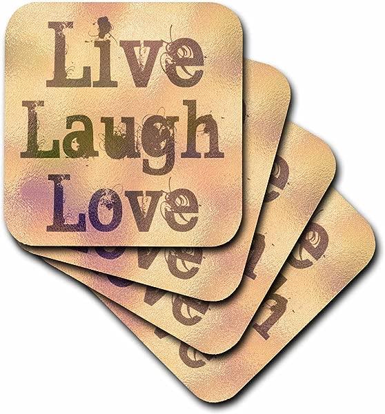 3dRose CST 37954 2 彩色玻璃桃子现场笑爱励志词汇励志软杯垫 8 件套