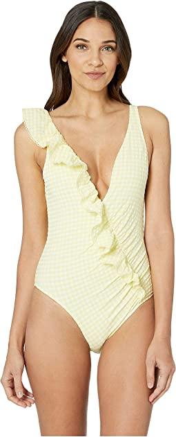 Gingham Asymmetrical Ruffle One-Piece