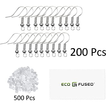 200 pcs Coil and Ball Style Nickel-Free Ear Wires Dark Gray Great For Jewelry Making Hypo-Allergenic Plated Steel DIY Earrings Eco-Fused 18mm Earring Hooks