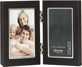 Pinnacle Metal 2.5x3.5 Double Black and Silver Hinged Picture Frame