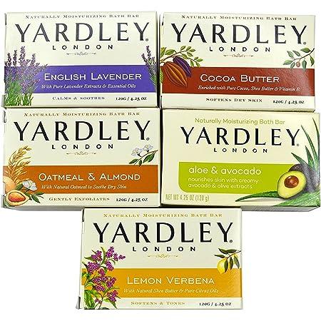 Yardley London Soap Bath Bar Bundle - 10 Bars: English Lavender, Oatmeal and Almond, Aloe and Avocado, Cocoa Butter, Lemon Verbena 4.25 Ounce Bars (Pack of 10 Bars, Two of each)