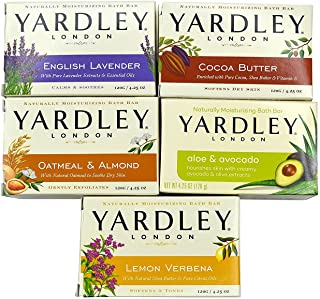 Yardley London Soap Bath Bar Bundle - 10 Bars: English Lavender, Oatmeal and Almond, Aloe and Avocado, Cocoa Butter, Lemon Verbena  4.25 Ounce Bars (Pack of 10 Bars, Two of each)