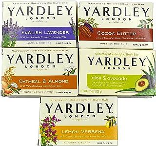 بسته نرم افزاری حمام صابون Yardley London - 10 میله: اسطوخودوس انگلیسی ، جو دوسر و بادام ، آلوئه و آووکادو ، کره کاکائو ، لیمون Verbena 4.25 میله اونس (بسته 10 نوار ، هر دو)