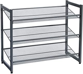 SONGMICS 3-Tier Shoe Rack Storage, Metal Mesh, Flat or Angled Stackable Shoe Shelf Stand for 9 to 12 Pairs of Shoes, Smoky...