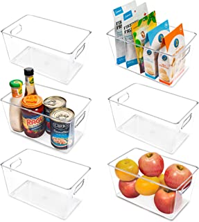 Vtopmart Lot de 6 bacs de rangement en plastique transparent avec poignée pour réfrigérateur, réfrigérateur, armoire, cuis...
