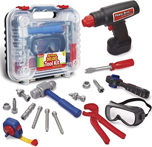 Durable Kids Tool Set with Electronic Cordless Drill and 18 Pretend Play Construction Accessories with a Sturdy Case