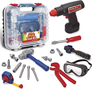 Durable Kids Tool Set with Electronic Cordless Drill and 18 Pretend Play Construction..