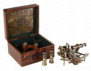 US HANDICRAFTS 8 Inch Maritime Antiques Marine Captain Sextant - Brass Nautical Sextant