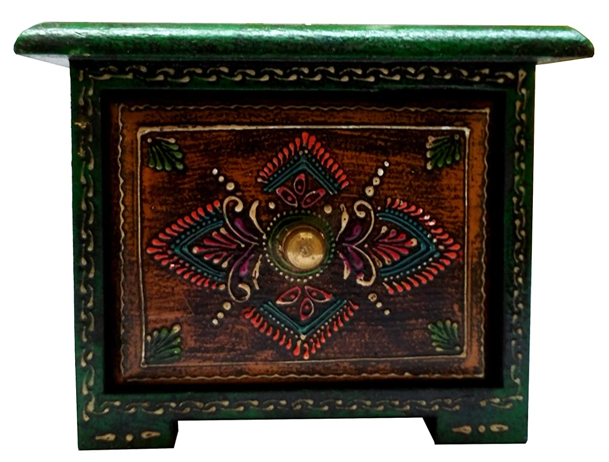 Purpledip Wooden Box: Hand-Painted 1-Drawer Square Box for Jewelry or Keys (11657)