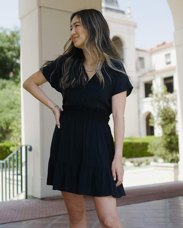The Drop Women's Black Smocked-Waist Mini Dress by @spreadfashion