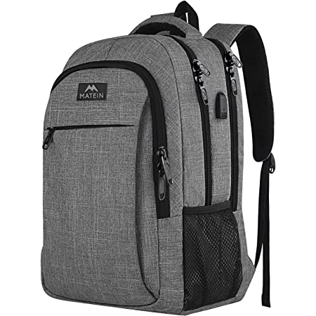 MATEIN Travel Laptop Backpack, Work Bag Lightweight Laptop Bag with USB Charging Port, Anti Theft Business Backpack, Water Resistant School Rucksack Gifts for Men and Women, Fits 15.6 Inch Laptop-Grey
