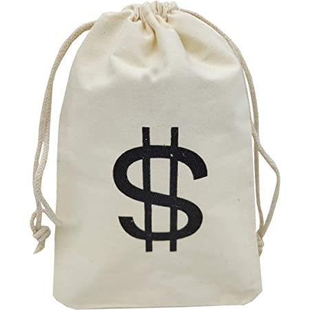 6.1 x 12.9 inches Humorous Party Favor Carry Bag 6-Pack Large Fake Money Drawstring Bag Pouch with Dollar Sign Design Robber Cream