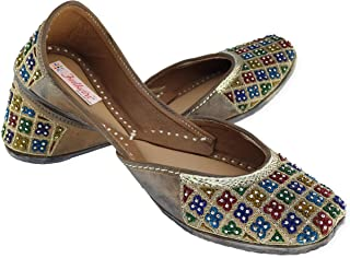 Fulkari Women's Phulkari Multicolor Genuine Soft Leather Jutis | Bite and Pinch Free Jutis | Punjabi Jutti for Ladies Flat Mojari | Bridal Ethnic Flats for Girls |