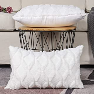 Madizz Pack of 2 Soft Plush Short Wool Velvet Decorative Throw Pillow Covers Luxury Style Cushion Case Pillow Shell for Sofa Bedroom White 12x20 inch Rectangular