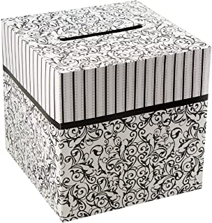 "Ifavor123 Elegant Black and White Design 10"" X 10"" Wedding Birthday Party Gift Money Card Box"