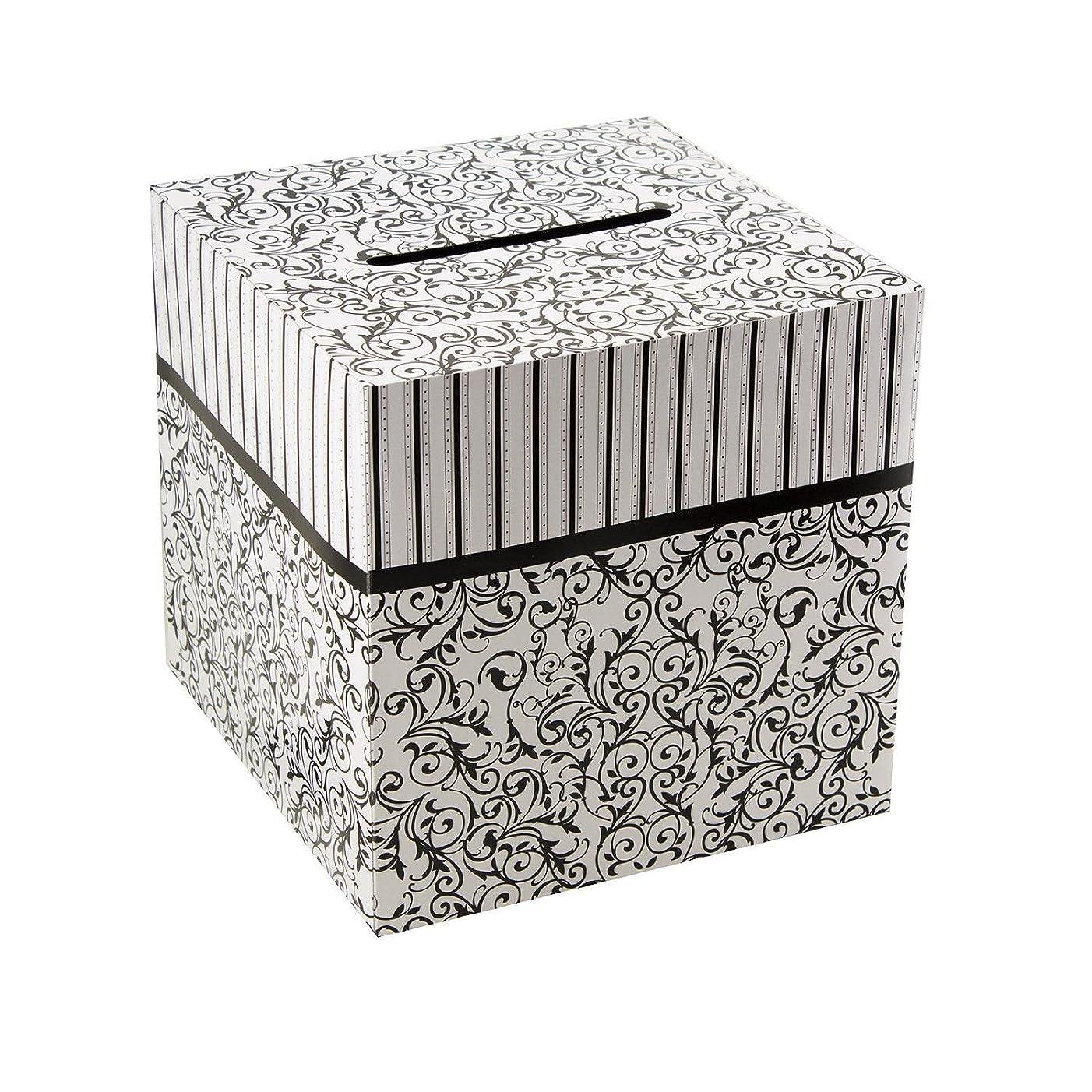 "Ifavor123 Cardboard Black and White 10"" X 10"" Wedding Birthday Party Gift Money Card Box"