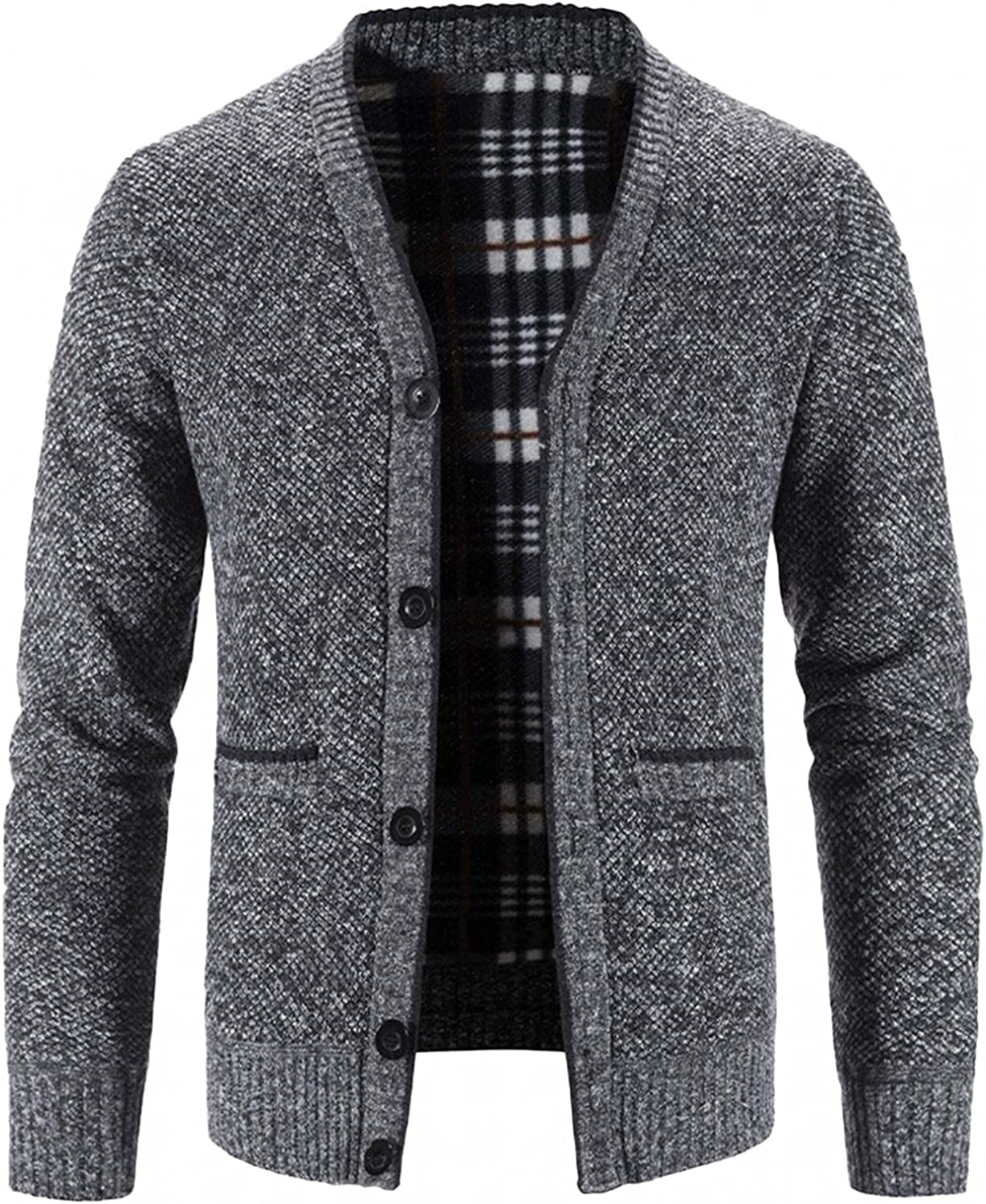 Mens Stand Collar Knitted Cardigan Sweater Zip Up Long Sleeve Thick Warm Coat Stripes Casual Slim Fit Jacket with Pocket