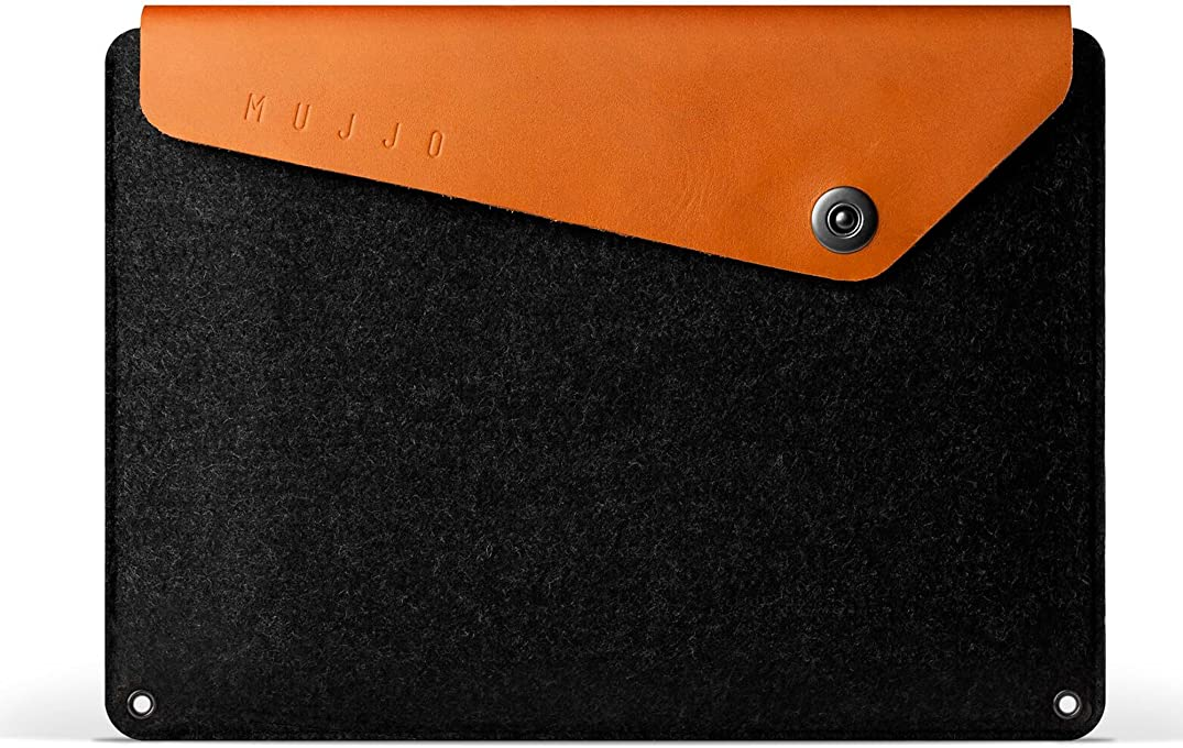 Mujjo Leather Sleeve Compatible with MacBook 12 inch | Signature Wool Felt and Vegetable-Tanned Leather, Integrated Storage Compartments (Tan)