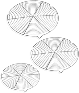 3 Pack Round Cooling Racks Steamer Rack for Cooking and Baking, Multi-Purpose for Air Fryer, Pressure Cooker, dutchoven, stainless steel steaming and roasting rack