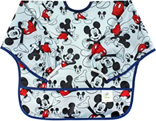 Bumkins Disney Mickey Mouse Sleeved Bib / Baby Bib / Toddler Bib / Smock, Waterproof, Washable, Stain and Odor Resistant, 6-24 Months  -  Classic