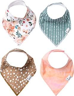 """Baby Bandana Drool Bibs for Drooling and Teething 4 Pack Gift Set for Girls """"Autumn"""" by Copper Pearl"""