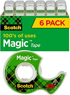 Scotch Magic Tape, 6 Rolls, Numerous Applications, Invisible, Engineered for Repairing, 3/4 x 650 Inches, Boxed (6122)