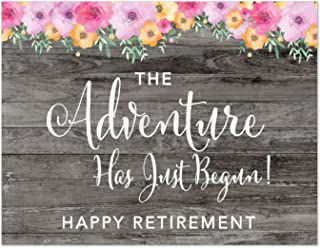 Andaz Press Retirement Party Signs, Rustic Gray Wood Pink Floral Flowers, 8.5x11-inch, The Adventure Has Just Begun! Happy Retirement, 1-Pack, Unframed