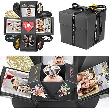 ZWOOS Explosion Box, Creative DIY Scrapbook Hecho a Mano Sorpresa Álbum de Fotos cumpleaños, Día de San Valentín Aniversario Navidad Caja de Regalo(Negro): Amazon.es: Hogar