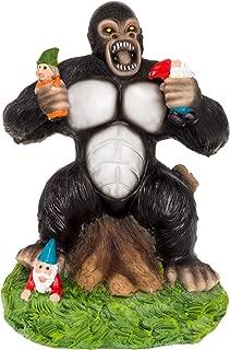 GreenLighting Solar Powered Gorilla Lawn Gnome - Light Up Garden Statue