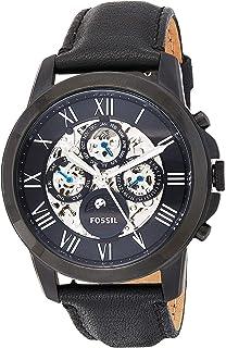 ساعة فوسيل جرانت للرجال بمينا اسود وسوار جلدي - ME3028