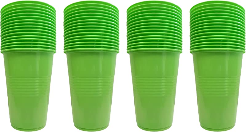 Set Of 64 Green Disposable Plastic Party Cups 4 Hot Colors 16oz Cups Perfect For Parties BBQ S Or Regular Use Green