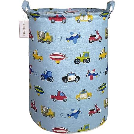 QIMI Large Storage Bins,Waterproof Laundry Hamper with Handles Canvas Organizer Bin for Kids Hamper Nursery Hamper (Vehicle)