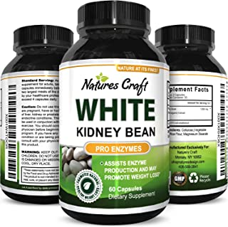 Pure White Kidney Bean Extract Effective and Optimized for Weight Loss - Carb Blocker and Prevents Fat from Forming - USA Made by Natures Craft