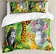 VROSELV-HOME Forest Duvet Cover Set Queen Size,Illustration of Happy Cartoon Style Nature Scene with Cute Wild Animals and Flowers,Print 3Pc Bedding Cover Set for Mother Girl Friends,Multicolor