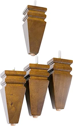 MJL Furniture Designs LQ-6125W Medium Carved Block Wooden Replacement Sofa/Ottoman Furniture Square Threaded Leg (Set of 4),  6 x 2-3/4 x 1-1/8,  Walnut