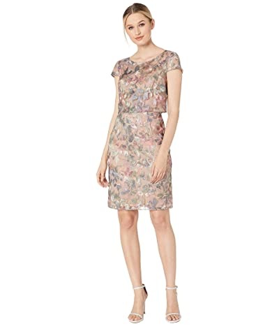 Adrianna Papell Metallic Embroidered Popover Dress (Pink/Blue Multi) Women