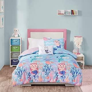 MISC 3 Piece Aqua Pink Purrmaid Comforter Twin Set, Purple Cat Mermaid Bedding for Kids Bedroom Magical Themed Purmaid Coral Turtle Fish Seahorse Starfish Jellyfish Novelty, Microfiber