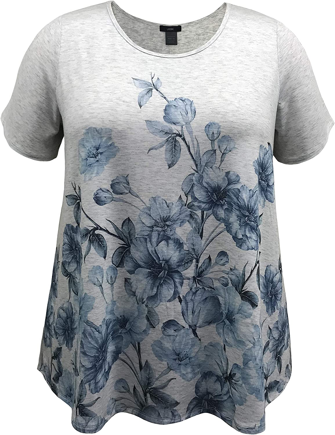 LEEBE Women and Plus Size Short Sleeve Printed Swing Tunic Top (Small-5X)