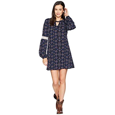 Rock and Roll Cowgirl Long Sleeve Dress D4-7255 (Navy) Women