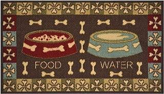 Pet Collection Food Water Mat Doormat Brown Multi Color Slip Skid Resistant Rubber Backing (Brown, 17