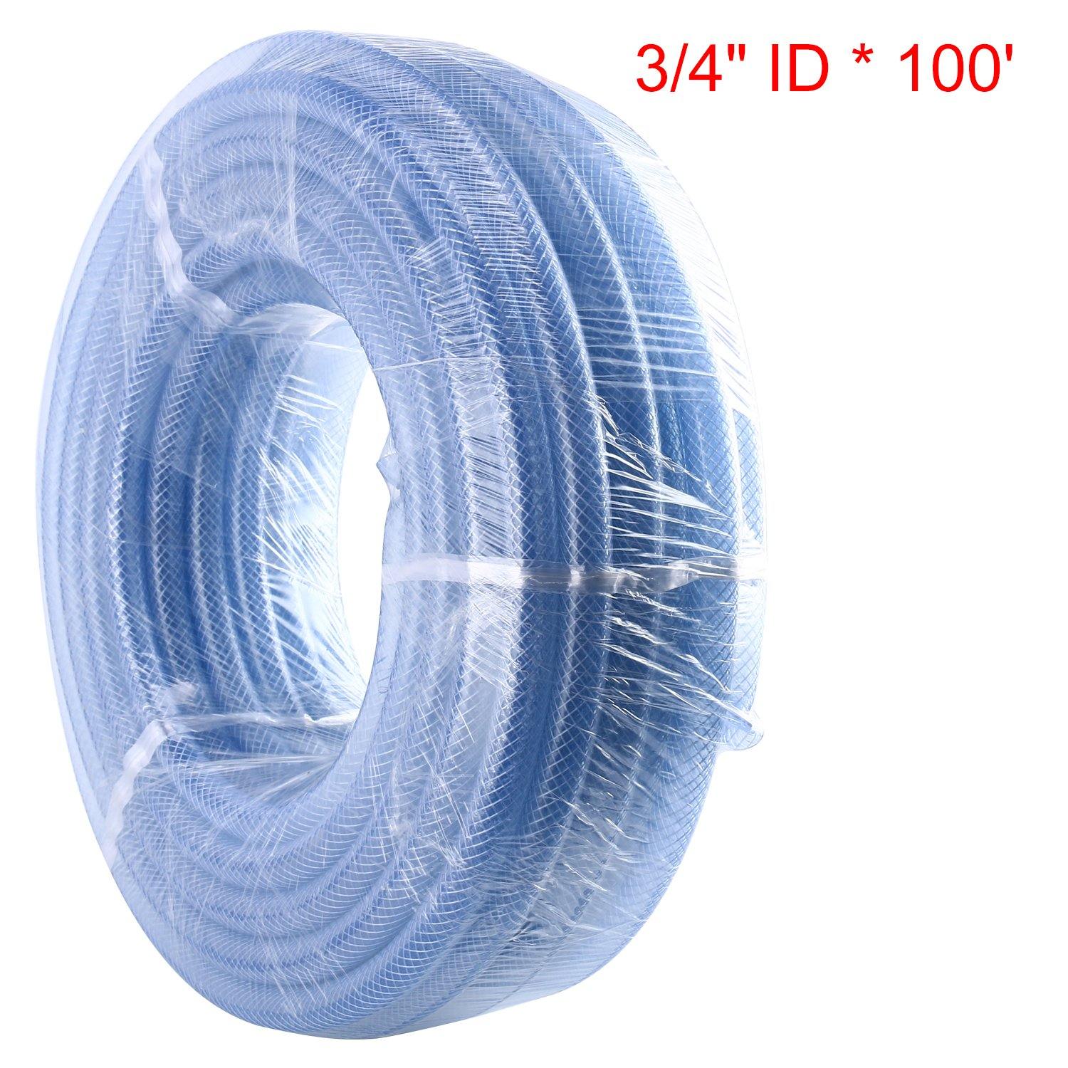 High Pressure Braided Clear Flexible PVC Tubing Heavy Duty UV Chemical Resistant Vinyl Hose Antifreeze Fiber Reinforced Nylon Tubing for Household and Industrial Use 6.5-Feet, ID:9mmOD:14.5mm