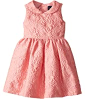 Oscar de la Renta Childrenswear - Bubble Flower Jacquard Gathered Sleeve Dress (Toddler/Little Kids/Big Kids)