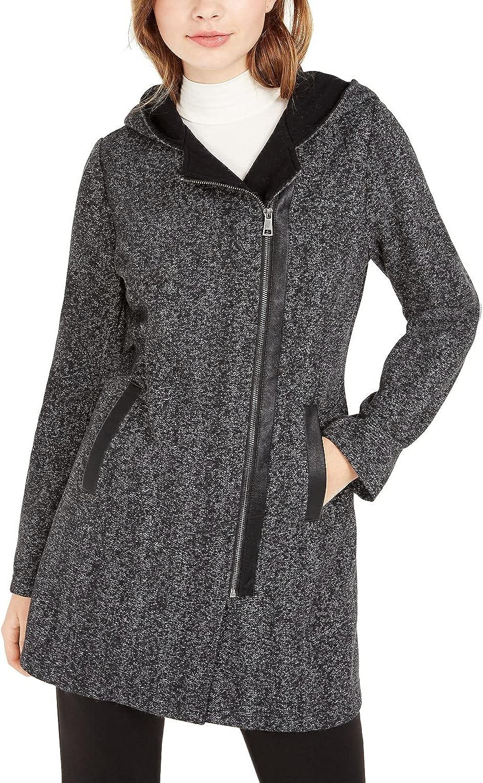 BCX Juniors' Hooded Faux-Leather-Trim Fleece Coat, Black - XS