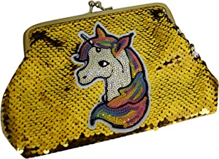 Aarvi Girls Latest and Unique Unicorn Sequins Handbag for Girls Birthday Gifts (Golden)