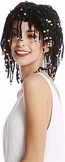 WIG ME UP- 90834-ZA103 Peluca Mujer Hombre Rayas Trenzado Trenzas con Perlas Negro Afro Reggae Caribe Gigolo Hippie
