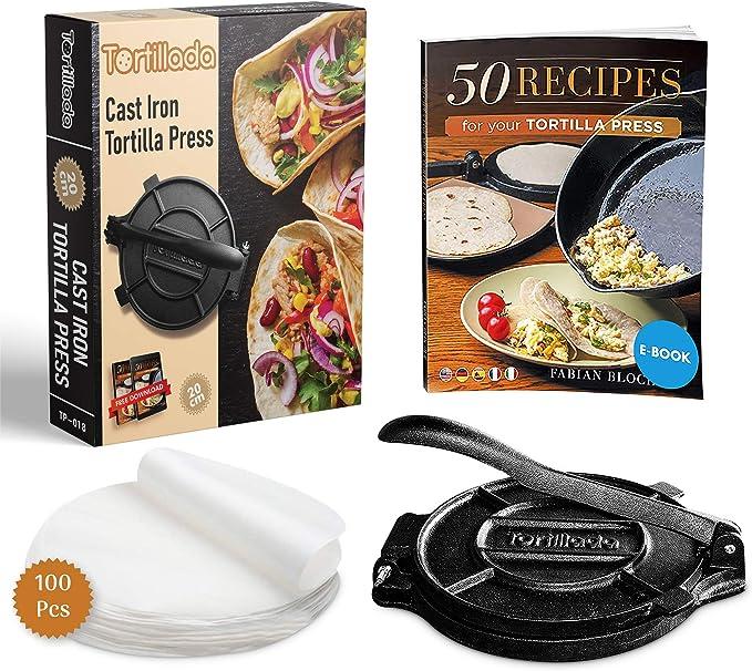 25 opinioni per Tortillada- 20cm Pressa per Tortilla in Ghisa di Alta Qualità + E-Book con